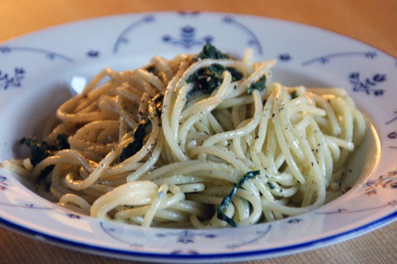 Spaghetti med Gorgonzola og Spinat